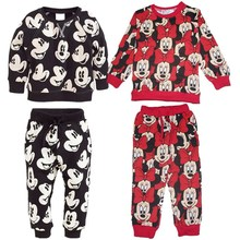 2016 Spring Baby Girl Clothing Set Bow Cute Children Sport Suit 2PCS Long-Sleeve Sweater Coat + Pants Minnie Casual Twinset(China (Mainland))