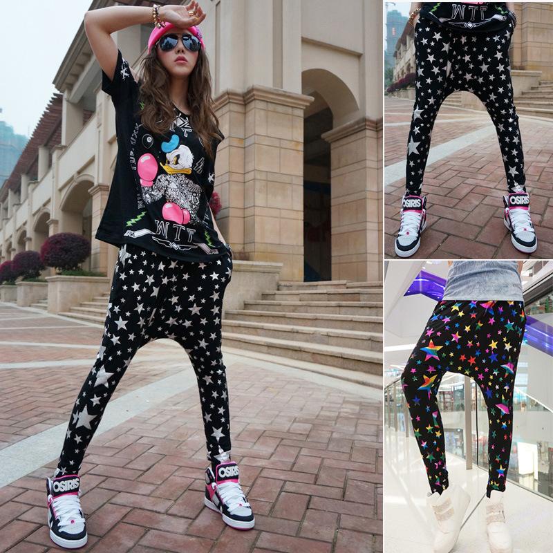 2015 new women's print loose star pattern casual street sports modal harem mid hip hop pants freeshipping(China (Mainland))