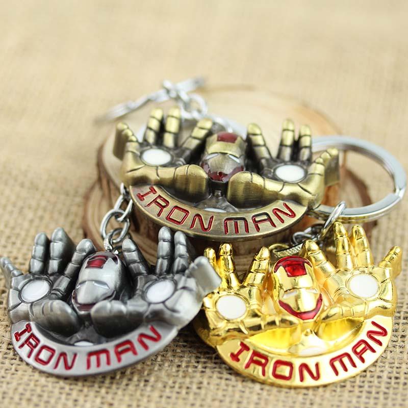 10pcs/lot Golden Color Marvel Superhero Iron man Key chain Metal Alloy Keyring <br><br>Aliexpress