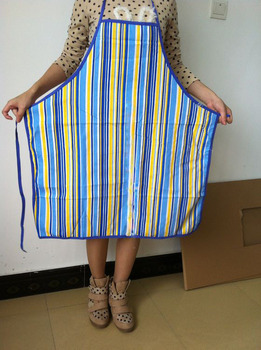 Free shipping Fashion blue stripe 100% cotton Apron for adult  Wal-mart supplier 70*80cm