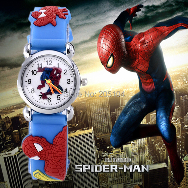 2015 hot sale children cartoon watch 3d rubber strap spiderman watch kids lovely quartz watch clock hours gift relojes relogio(China (Mainland))