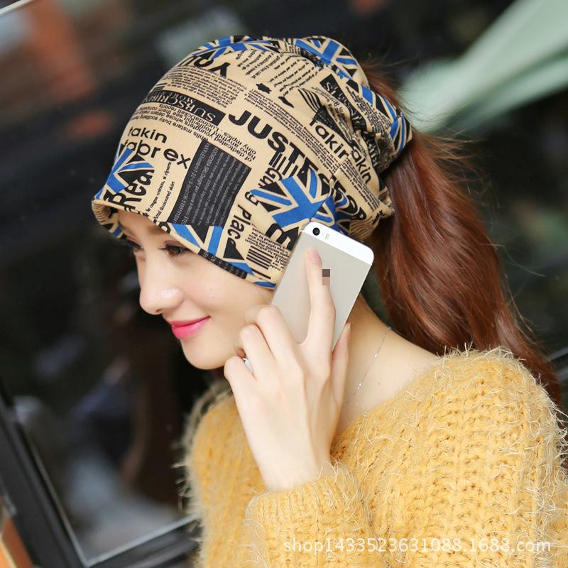 Free Shipping Autumn Women Flag Scarf Fashion Slouch Winter Knit Scarf Hip-hop Cap Beanie Ski Hat(China (Mainland))