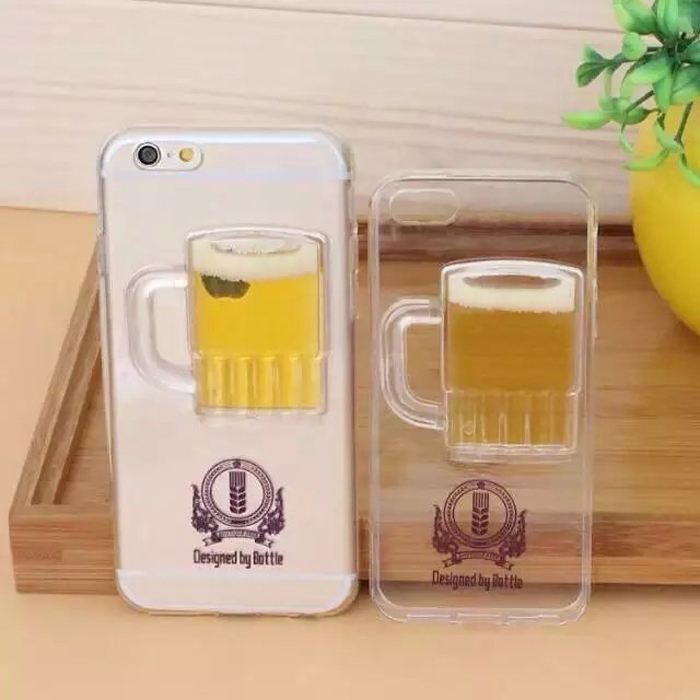 Liquid Quicksand Beer Cup Phone Case Cover For iPhone 6 6 Plus 5 5S 4S TPU Shell(China (Mainland))