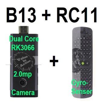 [Free RC11 air mouse] Dual Core Mini PC B13 RK3066 Cortex-A9 Built-in 2.0MP Camera Bluetooth MIC 1GB 8GB AV Output Support Skype