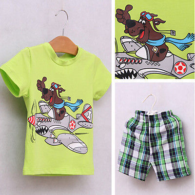 Kids Boy Baby clothes Dog Short Shirts Tops Pants 2 PCS Set Outfits 2 7 Y
