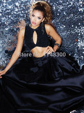 In Fashion Two Piece Prom Dress 2016 Heavy Beaded Long Formal Dress Sparkle Lady Black Long Satin Evening Gown Vestidos de Noiva(China (Mainland))