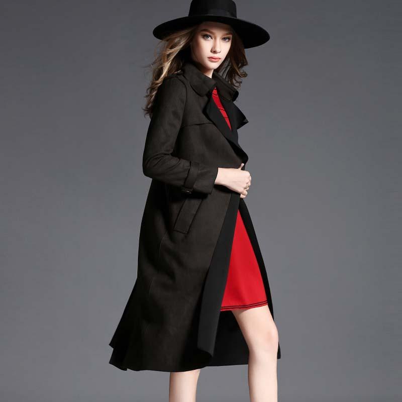 Women fall 2015 new fashion winter Hitz big runway trench coat plus size high-grade suede atmosphere long lines burderry - WeiSheng store
