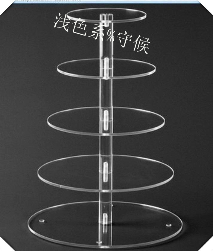 Cake Display Stand Plexiglass display holder free shopping 5 Tier Vintage Pure Acrylic Cakes Display Stand wedding decoration(China (Mainland))