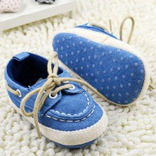 Baby Boy Girl Blue Sneakers Soft Bottom Crib Shoes Size Newborn to 18 Months(China (Mainland))