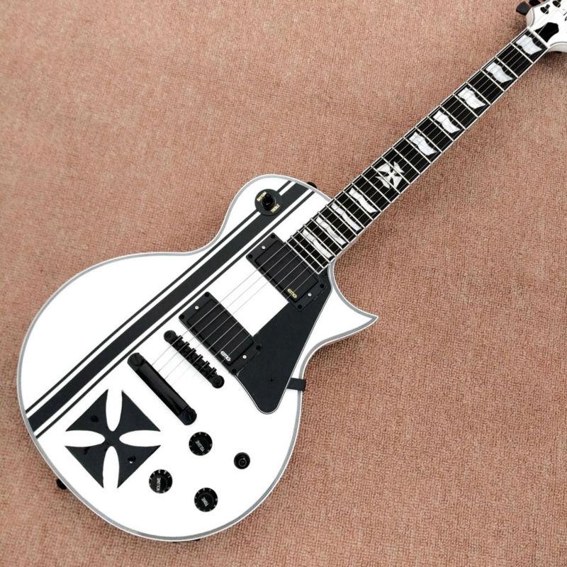 New Factory Custom Shop White Metallica James Hetfield Iron Cross Signature Ebony fingerboard Electric Guitar Free Shipping(China (Mainland))