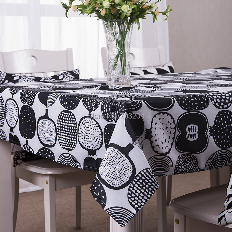 Modern Black Printed Table Cloth Rectangle Geometric Home Tablecloth Free Shipping(China (Mainland))