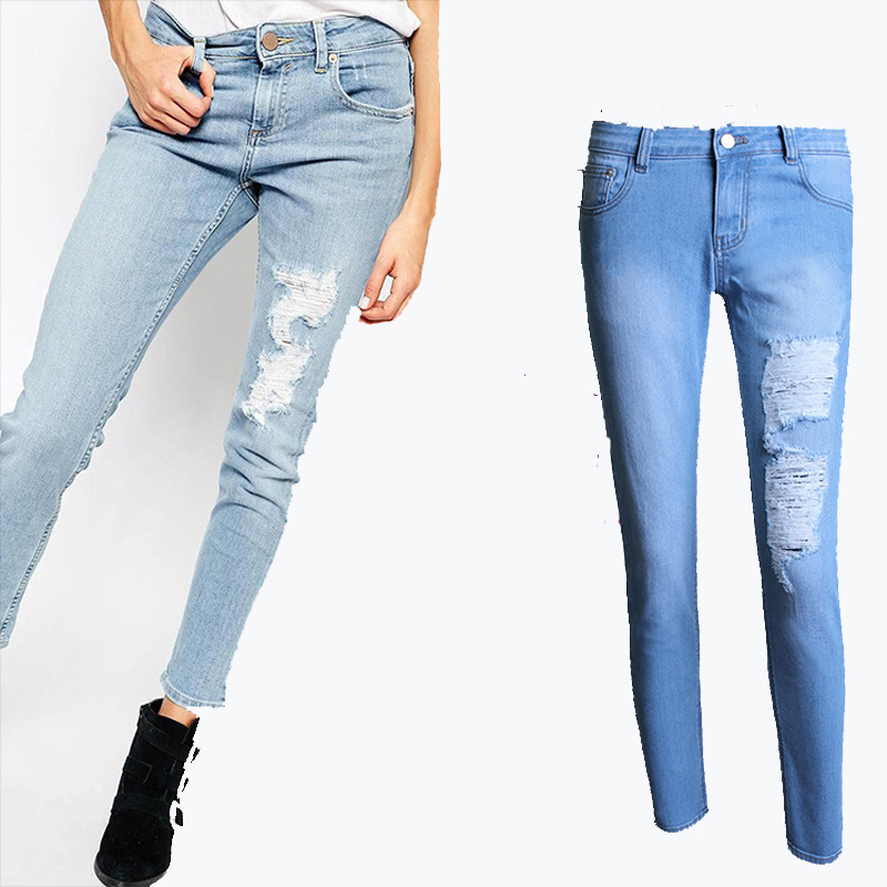 Amazing YuooMuoo Skinny Jeans Woman Fashion Ripped Jeans Pants Hole And