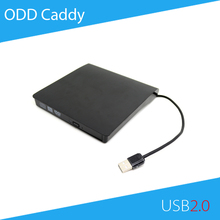 [Free DHL] ECD819 USB 2.0 External ODD Caddy DVD RW Enclosure Case for 12.7mm SATA Optical Drive Black Color - 100pcs(China (Mainland))