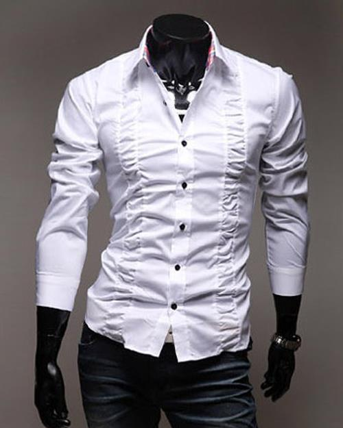 Classic ruffle slim long sleeve men shirts chemise homme for Frilly shirts for men