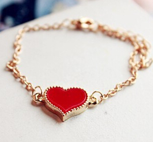 ns2 Free Shipping 2015 New Fashion Vintage Enamel Four Leaf Clover Love Heart Bracelet Jewelry(China (Mainland))