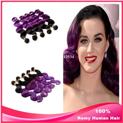 Top Hair Extensions Body Wave Brazilian Virgin Hair Purple Weave Ombre Hair Extensions 3pcs/lot 1B/Purple Ombre Human Hair Weave<br><br>Aliexpress