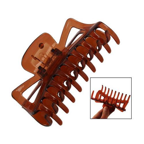10x Practical Durable Woman Brown Plastic Bath Hairclip Hair Clamp Claw Barrette(China (Mainland))