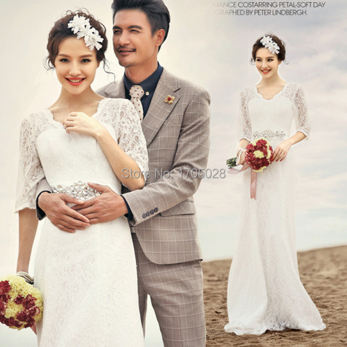The new 2015 wedding lace shoulder wedding dress long trailing tail pack wedding dress(China (Mainland))