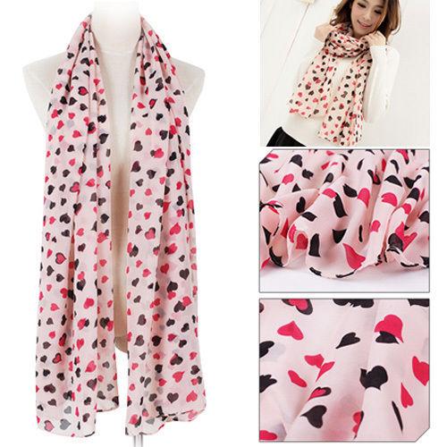 Lot 10pcs New Sweet Women Ladies Love Heart Print Chiffon Shawl Scarf Long Stole Hot Sale 10PCS(China (Mainland))
