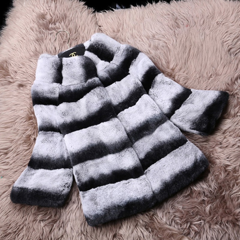 High Quality Hot Sell Natural Rabbit Fur Coat Chinchilla Rex Rabbit Fur with Collar Outwear Coats Free ShippingОдежда и ак�е��уары<br><br><br>Aliexpress