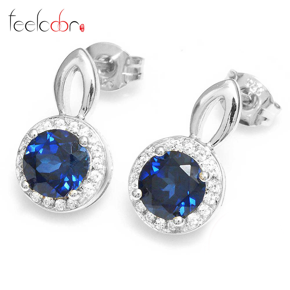 Brand Fashion 2.5ct Blue Sapphire Dangle Stud Earrings For Women Real Genuine 925 Sterling Silver Jewelry 2015 Wholesale Fine<br><br>Aliexpress