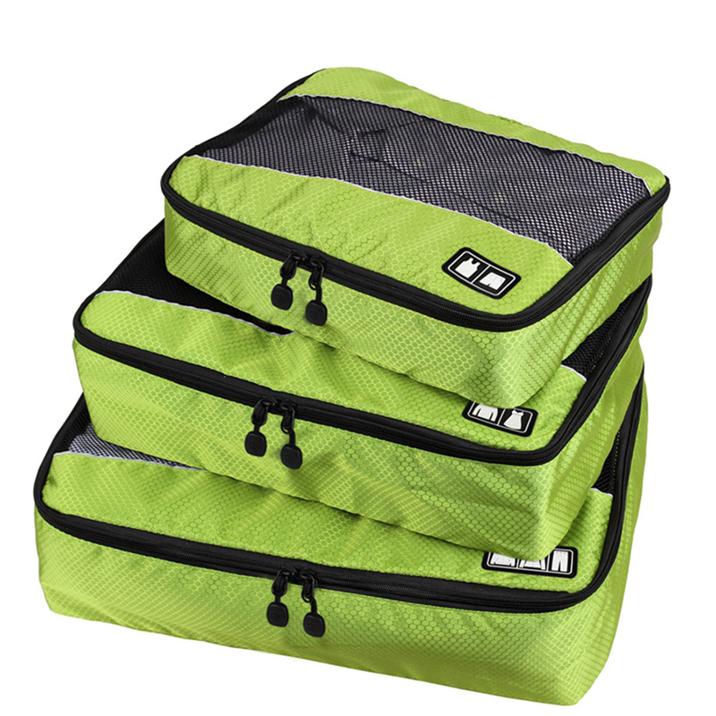 3 Pcs/Set Nylon Unisex Packing Cubes For Clothes Lightweight Luggage Travel Bags For Shirts Waterproof Duffle Bag Organizers(China (Mainland))