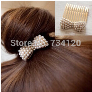 mix wholesale hot Fashion imitation pearl Bow Hair Accessories gold plated Plated Rhinestone Hairpin Hair Comb Korean Jewelry(China (Mainland))