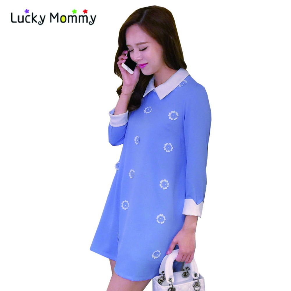 2016 New Spring Chiffon Maternity Clothes Plus Size Dresses for Pregnant Women Long-sleeved Cute Maternity-dress Pregnant Dress<br><br>Aliexpress