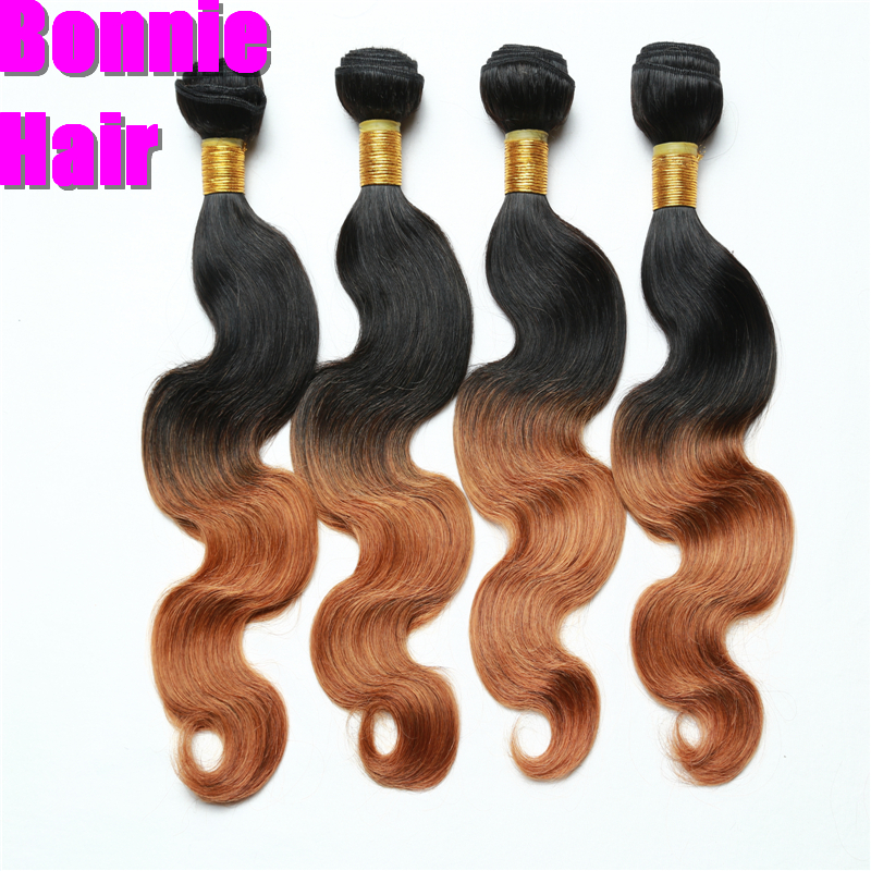 Ombre 2 Tone 1B/27 1B/30 Natural Black Brown Honey Blonde Cheap Ombre Brazilian Hair 3Pcs 6A Unprocessed Virgin Human Hair Weave