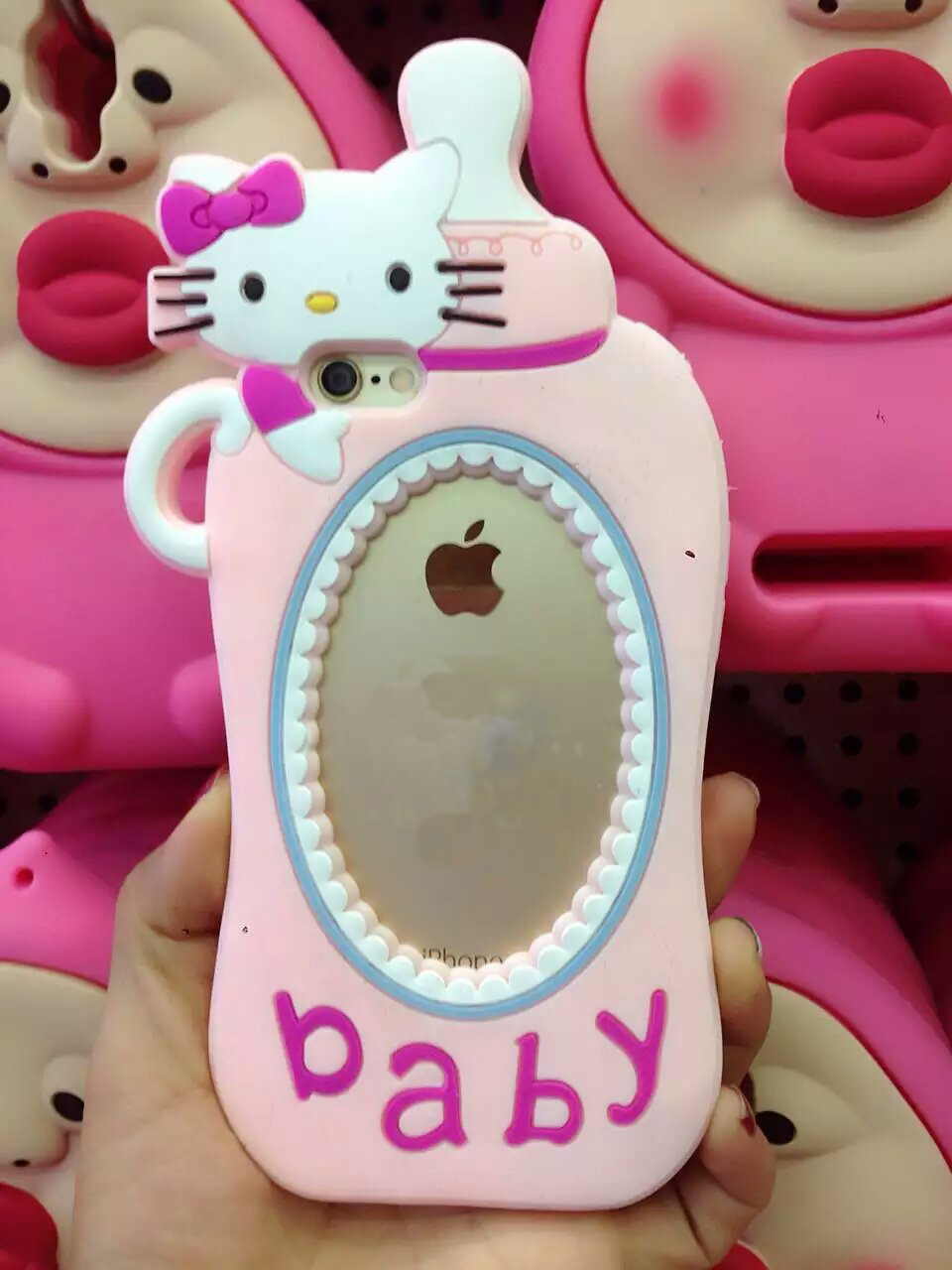 New Arrive BABY Kitty Cat pacifier For Apple iphone 6 6S 6plus 6splus mobile phone silicone protective case shell(China (Mainland))