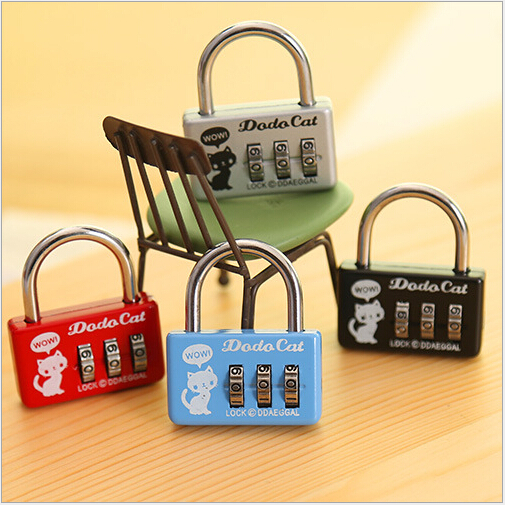 Cute Travel Portable Luggage locks Mini Lock Ordinary desk Drawer Diary cabinet Code Number key lock toy furniture padlock 2015(China (Mainland))