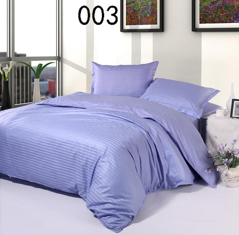 Light purple cotton satin stripe 4pcs bedding sets - Light purple comforter set ...