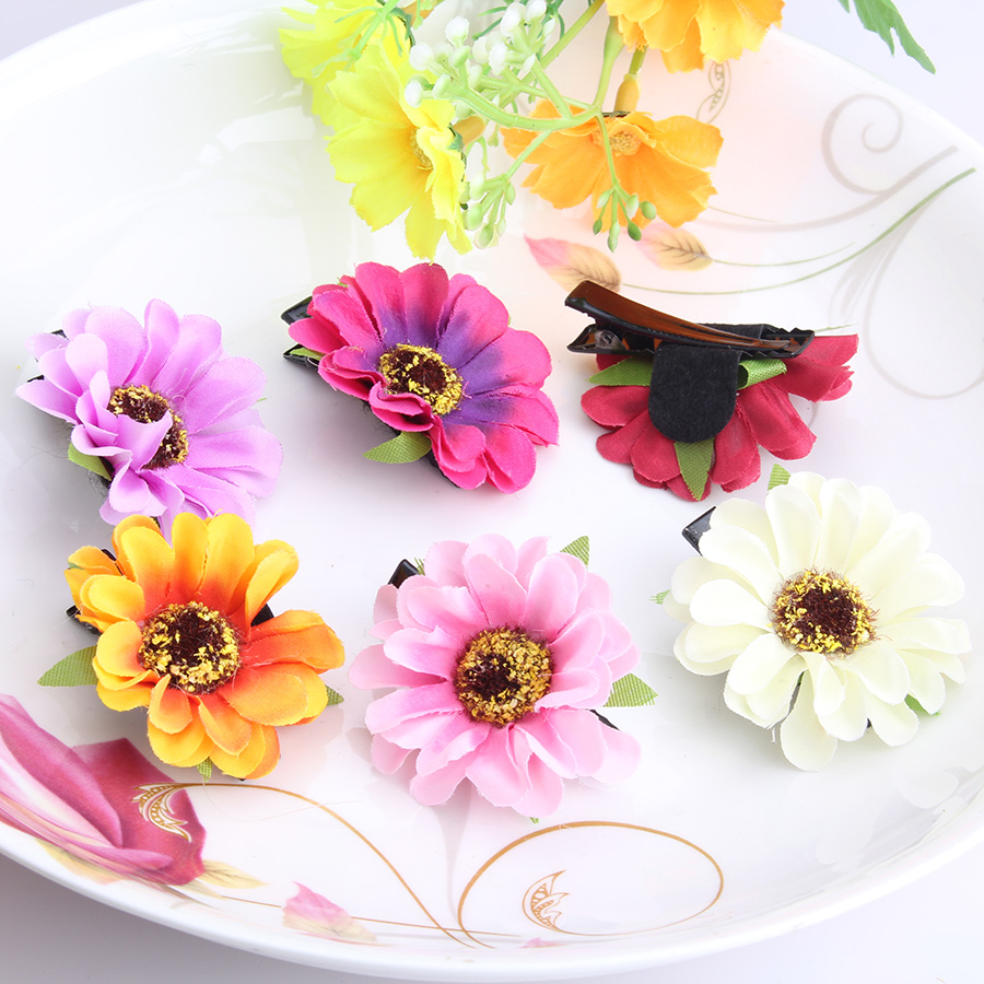 Children Fabric Flower Headband Hair Clips Babys Metal Brooch for Dress Floral Hairpins Girls DIY Hair Accessories Hairclips(China (Mainland))