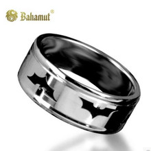 Bahamut Batman Black Dark Knight Titanum Steel Ring Free With Chain Free Shipping  Titanium Batman Ring Men(China (Mainland))