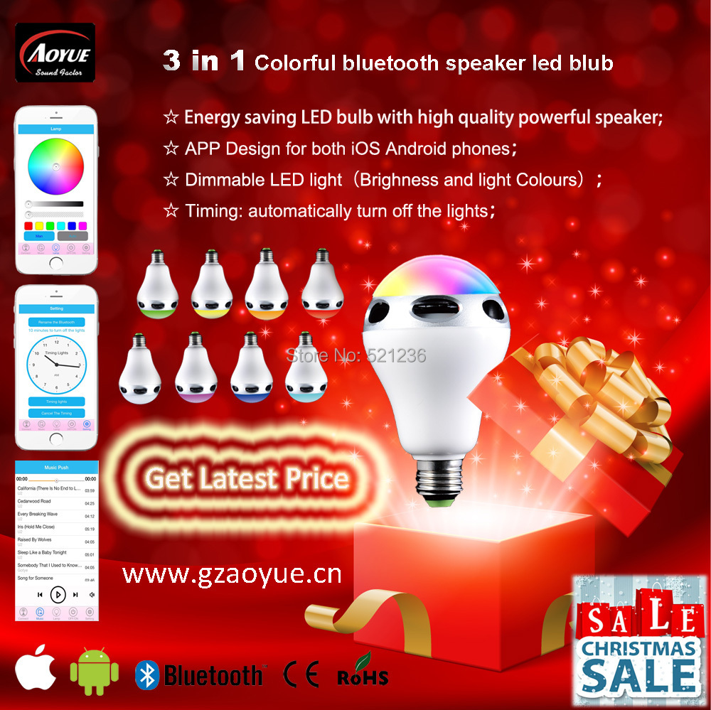 2015 latest products 16000000 clolr light choice bluetooth speaker bulb with CE and Rohs(China (Mainland))