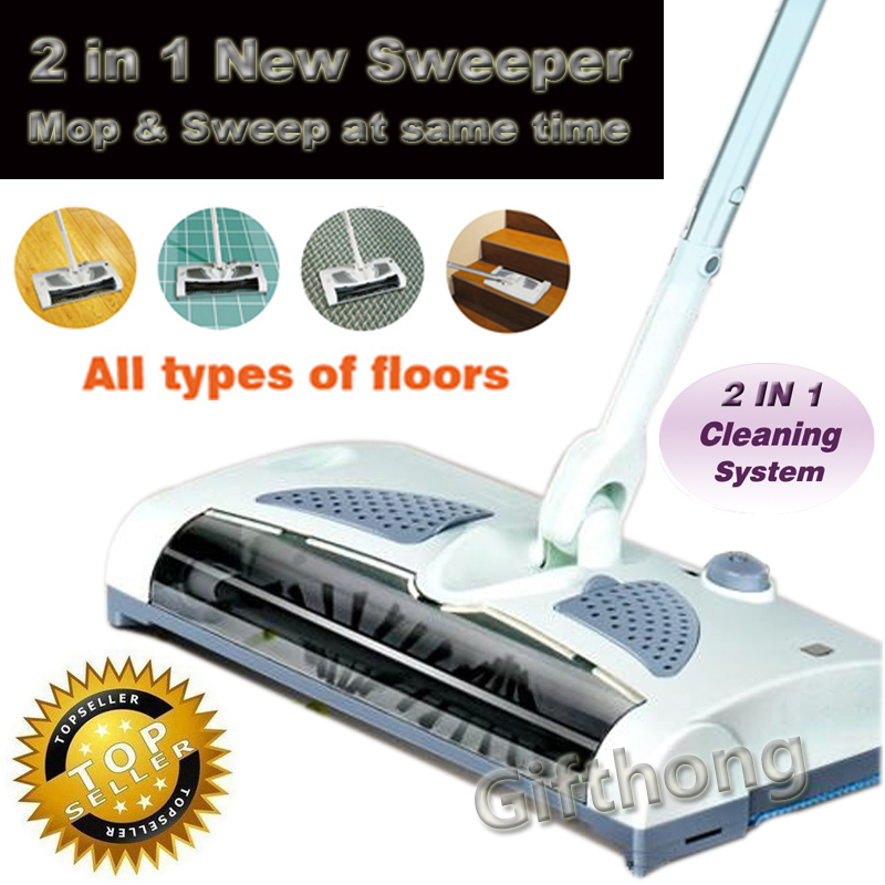 Brand New 2 in 1 cordless electric sweeper & mop Rechargeable battery ROTARY rod 360 degree for carpet floor Tiles Hard Wood(China (Mainland))