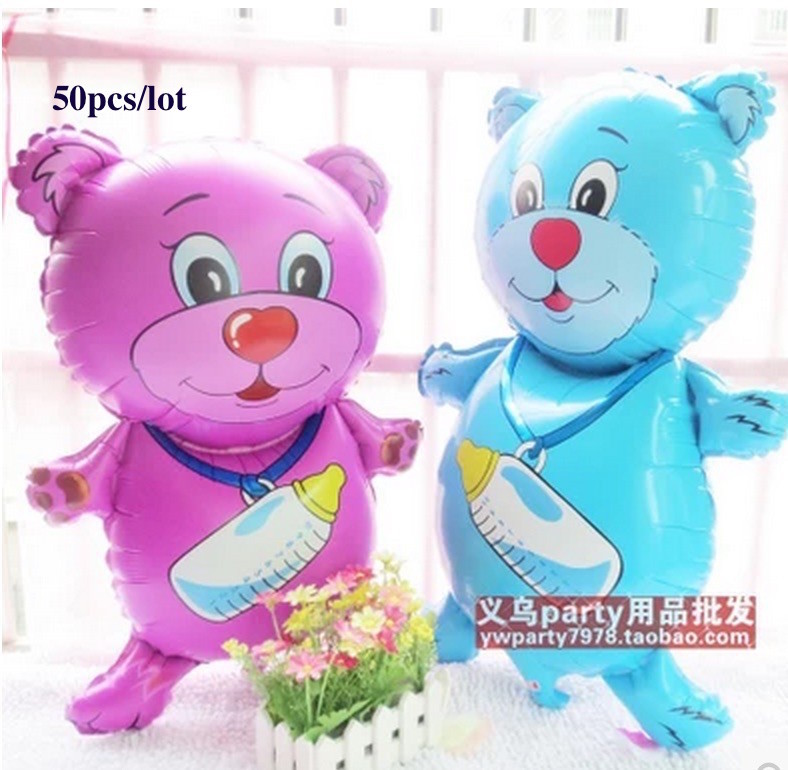 53*81cm manufacturers selling the new 50pcs bottle bear balloon cartoon aluminum film stereo toy hydrogen wholesale 0519006(China (Mainland))