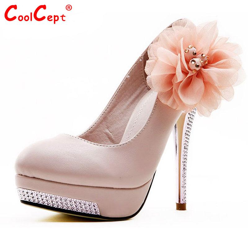 Size 35-43 Women High Heel Shoes Wedding Bridal Flower Platform Heeled escarpin Lady Pumps Fashion Footwear Heels D5614 - CoolCept store