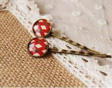 HOT! Scottish Tartan red cross printed Cabochon glass tiles hairpins for girls Mediterranean Style Bronze Hair Clips handmade