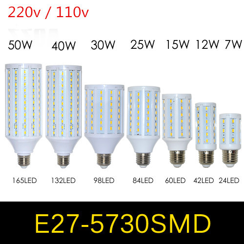 High Power LED Corn Bulb E27 E14 7W 12W 15W 25W 30W 40W 50W 5730 Led Lamp Light 220V 110V Chandelier LED Candle Light Lantern(China (Mainland))