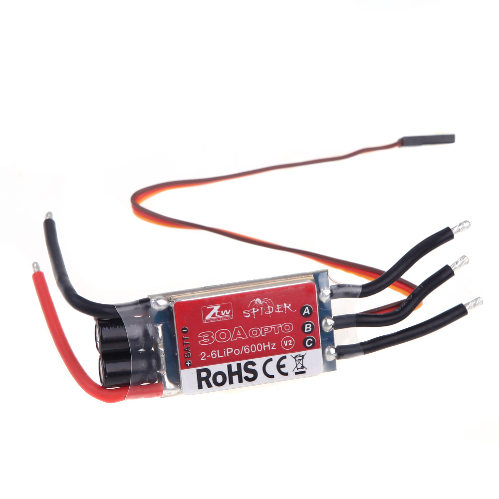 ZTW Spider Series 30A OPTO Brushless Speed Control ESC 2-6S Lipo for DJI Flame Wheel F450 F550 Qudcopter Airplane Part(China (Mainland))