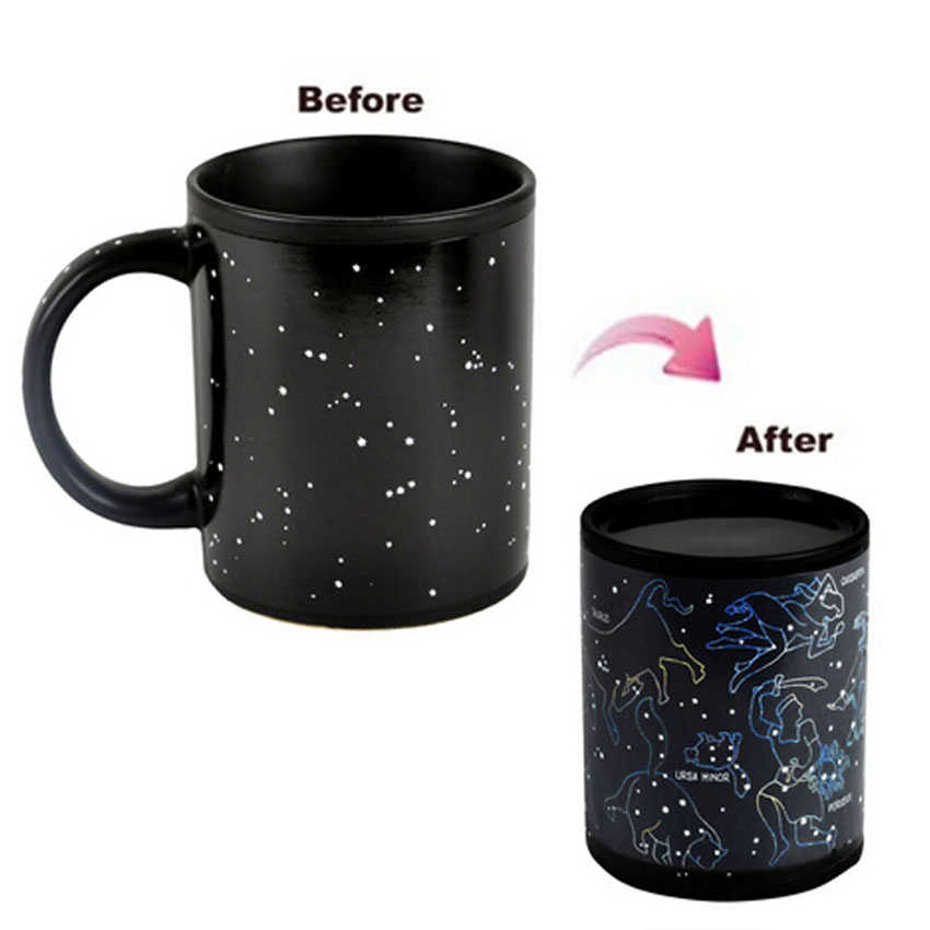 New Fashion Fantastic Star Sign Magic Mug Cup Change Color Tea Coffee Juice Water Cup Cool Heat Changing Color Ceramic Cup(China (Mainland))