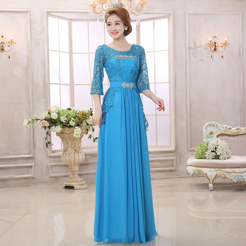 Ladys Long Gowns 2014 Mother of the Bride Lace Dresses 3/4 Sleeve Formal Dresses Elegant Evening Gown Brand New(China (Mainland))