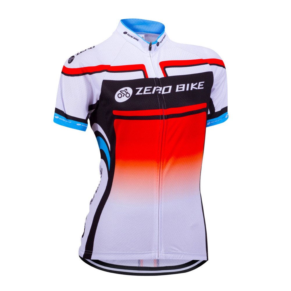 ZERO BIKE Women's Short Sleeve Cycling Jersey Quick Dry Breathable Mountain Bike Clothing Full Zip Tops Cycling Shirt XY01