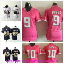 Stitched Women New Orleans Saints Drew Brees Brandin Cooks C.J. Spiller Vinnie Sunseri Jack Tabb Kenny Vaccaro Moore For Ladies(China (Mainland))
