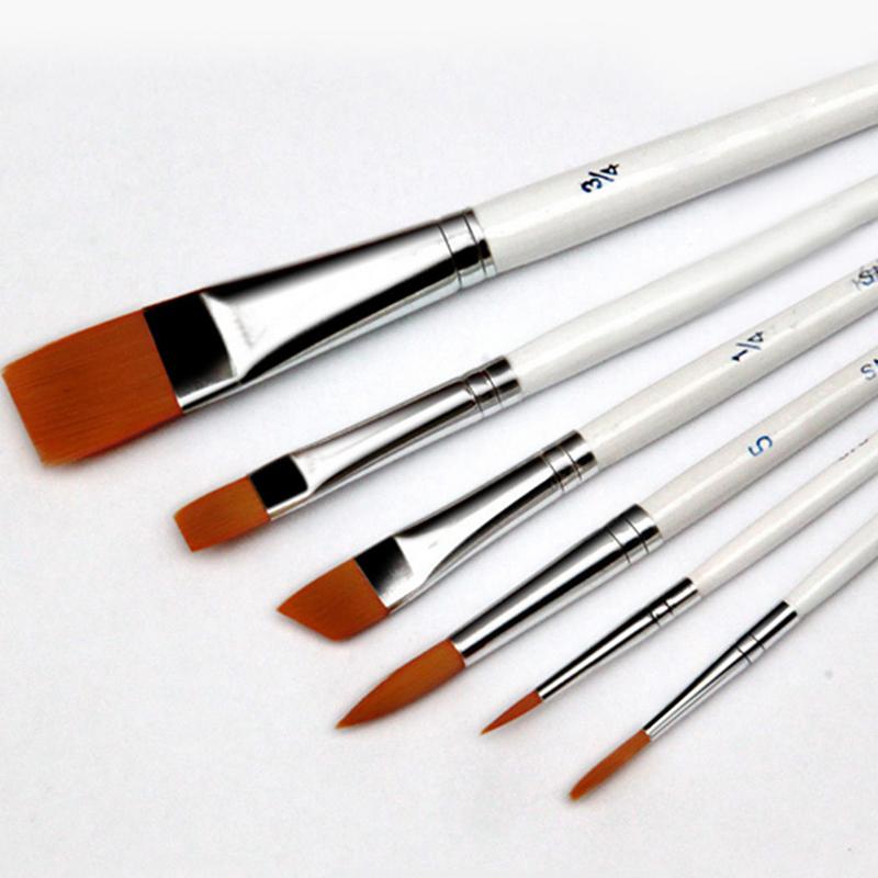 6pcs/Set Painting Brush Oil Paint Nylon Hair Water Color Painting Brush Acrylics Brush Art Set Drawing For Supplies D0621(China (Mainland))