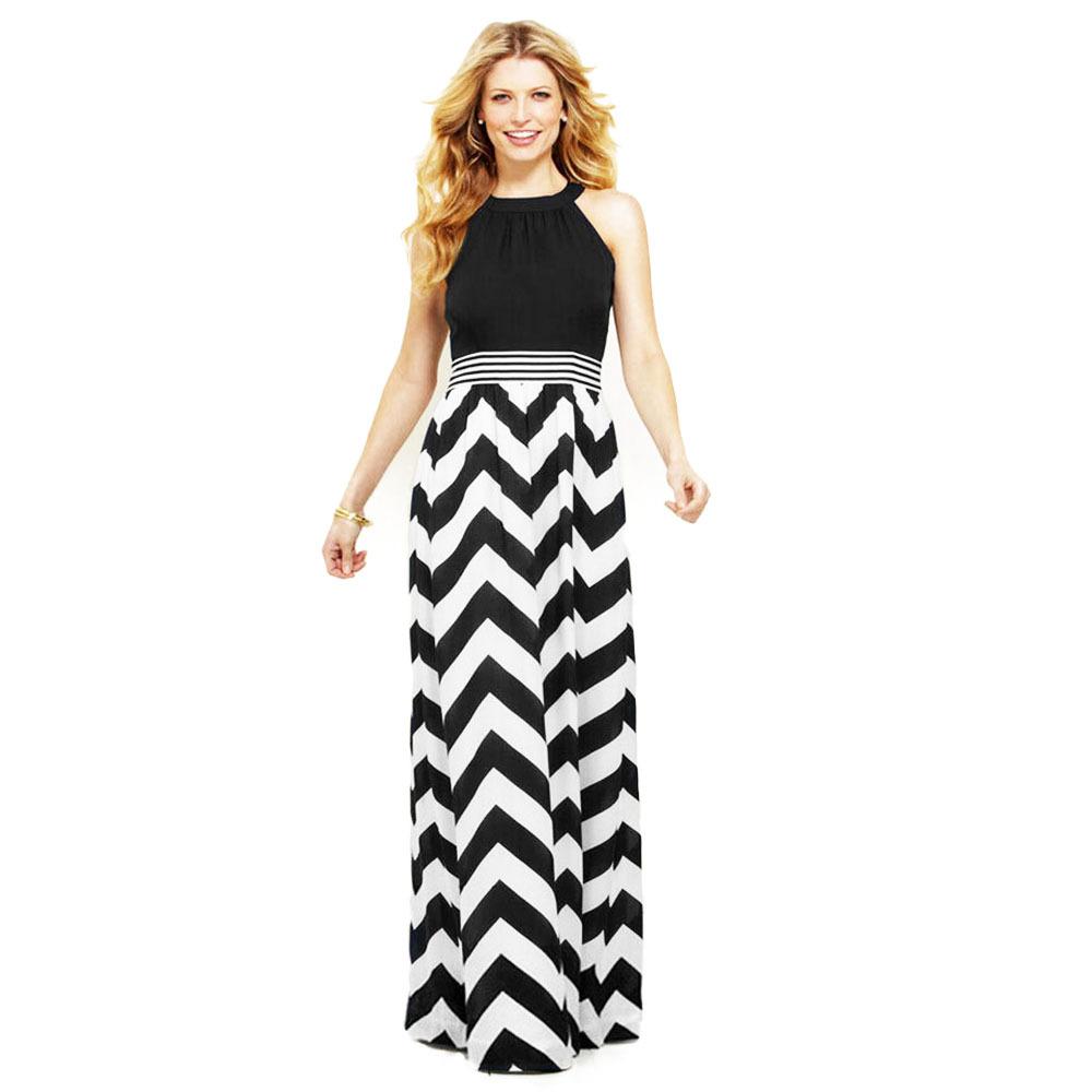2015 Summer Style Wave Stripe Dress Bohemian Halter Keyhole Back Flooring Length Long Maxi Dresses Tunic Patchwork Sundresses(China (Mainland))
