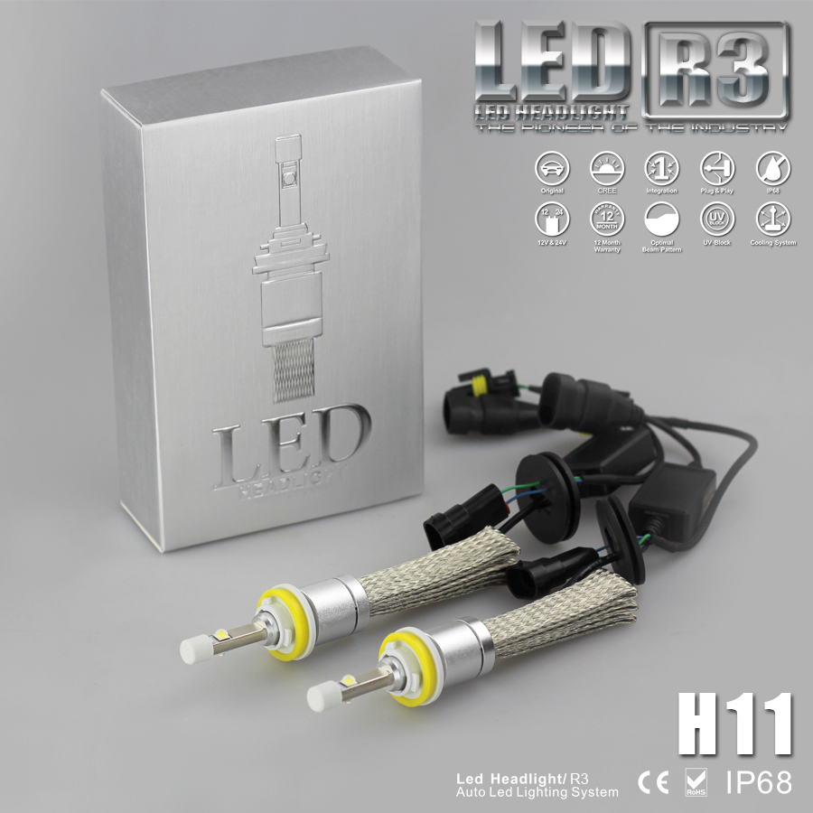 9600lm H8 H9 H11 Xenon White 6000K Car LED Headlight Kit Cree 80W Bulb Silver Body Super Bright Copper Heat Cooling Belt(China (Mainland))