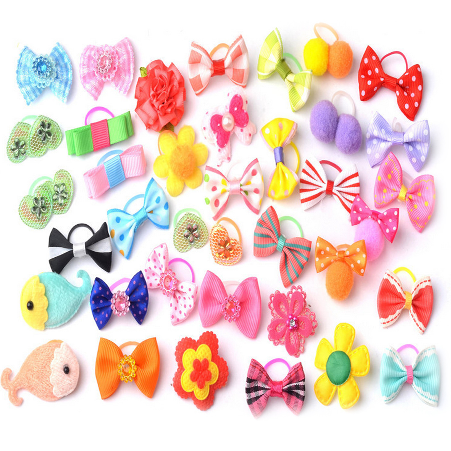 20 PCS Pet Hair Bows Hair Band Dog Puppy Cat Grooming Accessories Random Color and Style(China (Mainland))