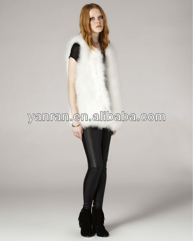 YR-114 Design 2015 Haining Tongxiang Factory Direct Girls' Genuine Turkey Feather Fur Vest - Yanran store